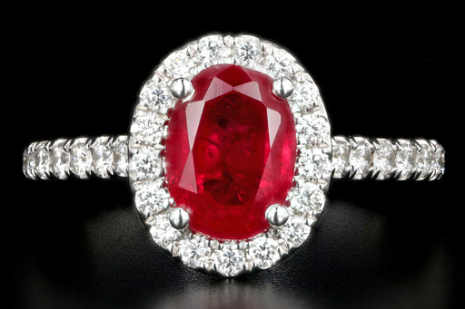 Modern 14K White Gold Oval Cut 2.07 Carat Natural Ruby Diamond Halo Ring - Queen May