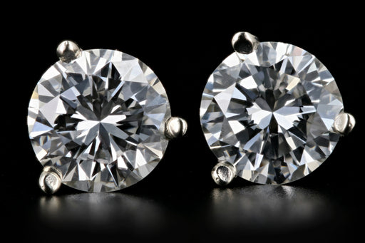 New 14K White Gold 1.24 Carat Diamond Studs GIA Certified - Queen May