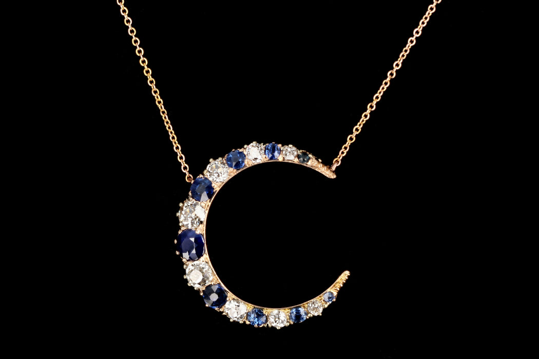 Victorian 14K Rose Gold Crescent Moon Diamond and Sapphire Necklace - Queen May