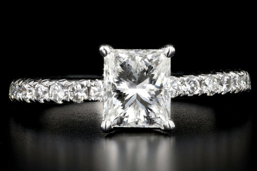 Modern 14K White Gold 1.11 Carat Princess Cut Diamond Engagement Ring - Queen May