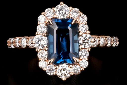 New 18K Rose Gold Octagonal Cut 2.39 Carat No Heat Thailand Sapphire and Diamond Halo Ring - Queen May