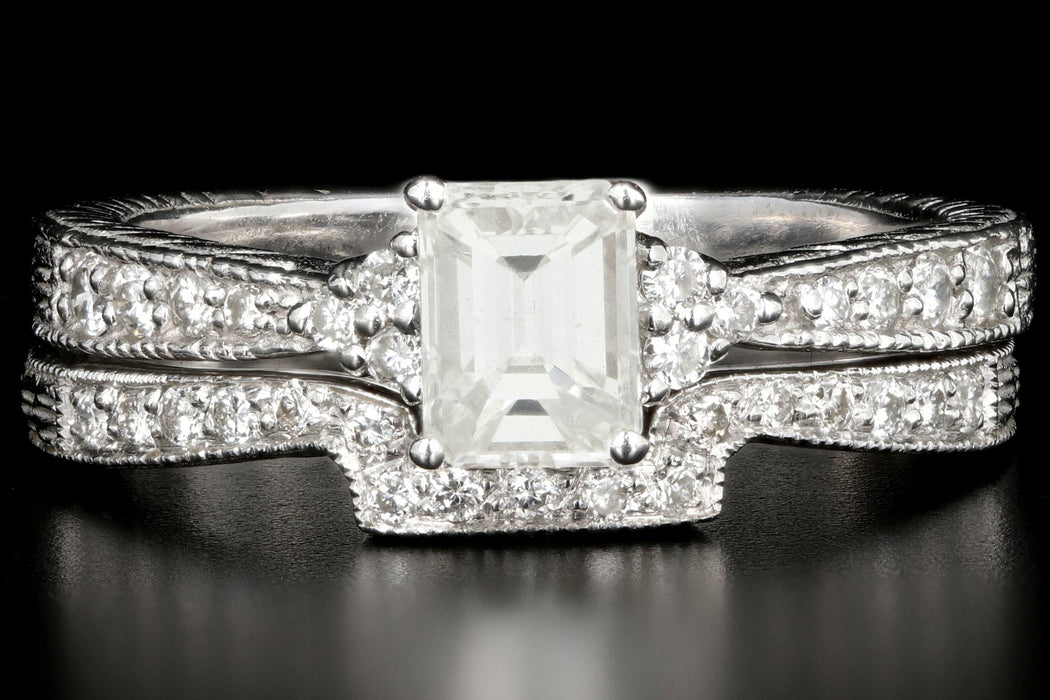 Modern 14K White Gold .70 Carat Emerald Cut Diamond Engagement Wedding Ring / Band Set - Queen May