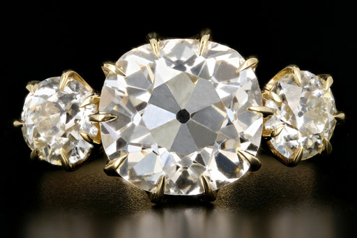 18K Yellow Gold 2.89 Carat Old Mine Cut Diamond 3 Stone Ring - Queen May