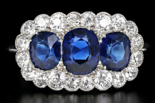 Art Deco Platinum 2.51 Carats Natural No Heat Sapphires and Diamond Ring - Queen May