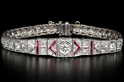 Art Deco Platinum 3 Carat Old European Cut Diamond and Ruby Bracelet - Queen May