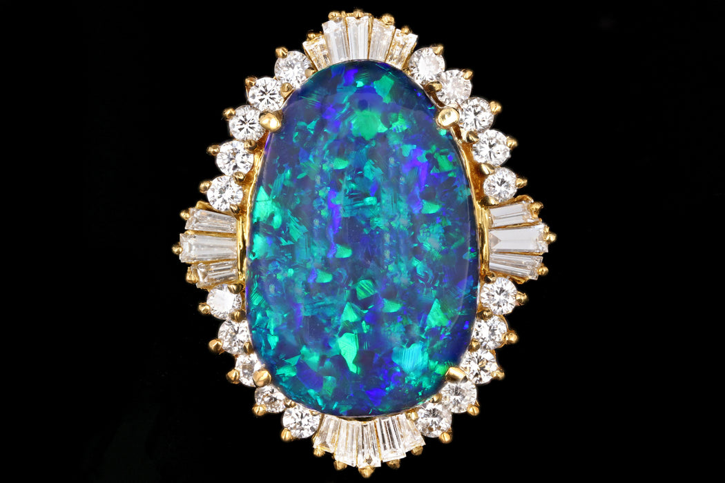 Modern 18K Yellow Gold 20 Carat Black Opal and Diamond Cocktail Ring - Queen May
