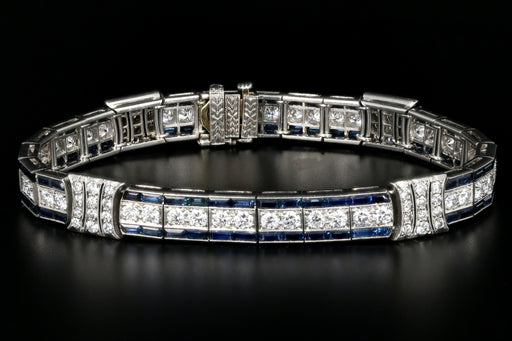 Art Deco Tiffany and Co. Platinum Natural Sapphire and Old European Cut Diamond Bracelet GIA Certified c.1925 - Queen May