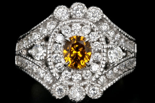 18K White Gold GIA Fancy Deep Orange .65 CT Diamond & White Diamond Cluster Ring