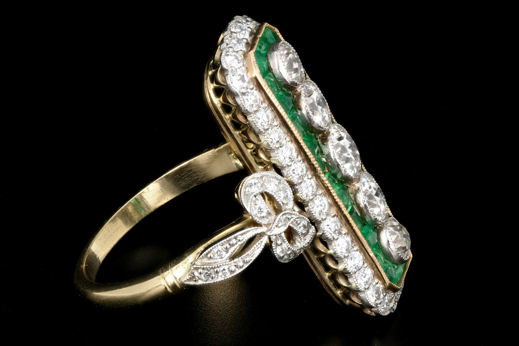 Art Nouveau Style Emerald and Diamond Cocktail Ring Size 8 - Queen May