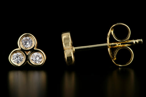 New 14K Yellow Gold Diamond Trinity Stud Earrings - Queen May