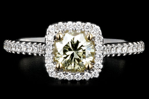 New 14K Gold Light Yellow .55 Carat Diamond Halo Ring - Queen May