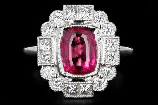 New 14K White Gold 1.85 Carat Rubellite Tourmaline Diamond Ring - Queen May