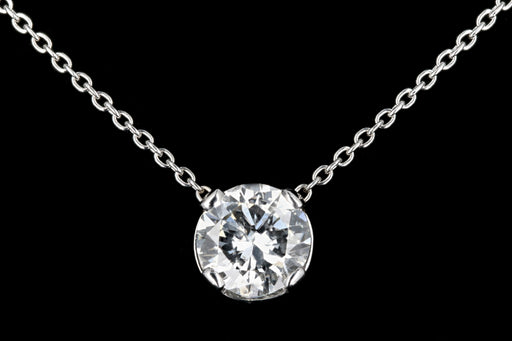 New 14K White Gold 1.34 carat Diamond Necklace - Queen May