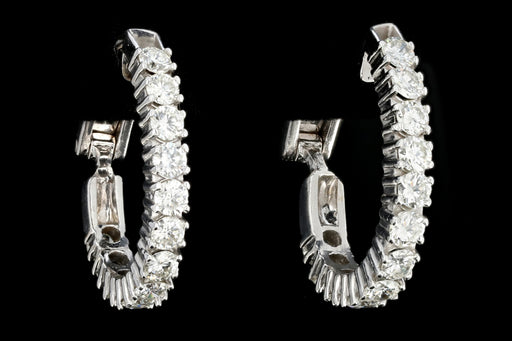 Modern 14K White Gold 4 Carat Total Weight Diamond Huggie Earrings - Queen May