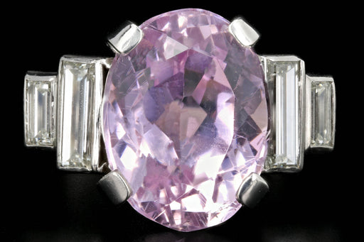 Modern Platinum 11.4 Carat Kunzite and Diamond Ring - Queen May