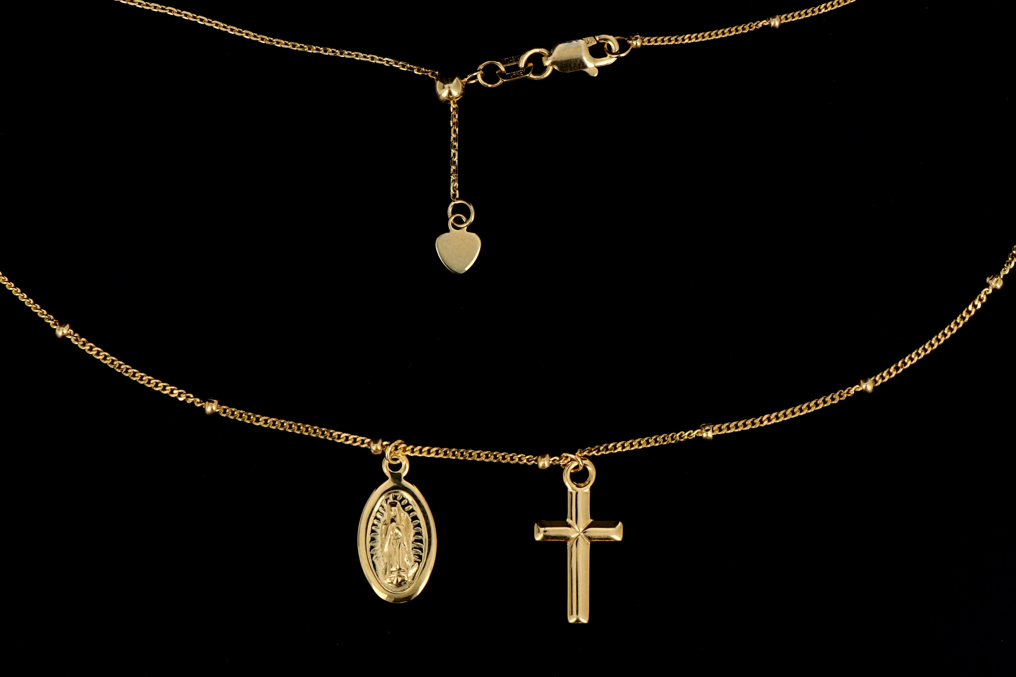 14K Yellow Gold Cross and Virgin Mary Necklace