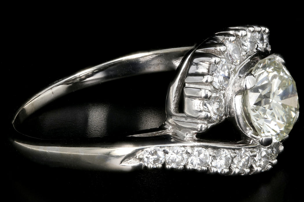 Art Deco 14K White Gold 1.5CTW Diamond Ring - Queen May