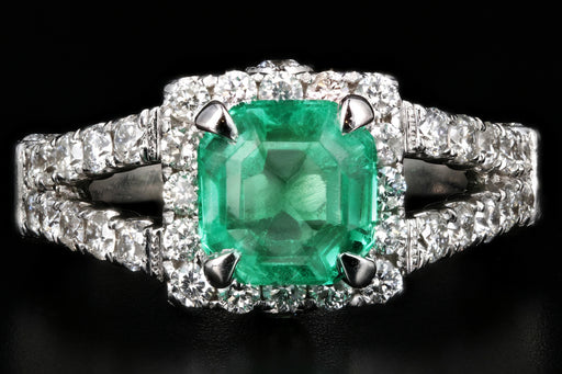 Modern 14K White Gold 1.81CT Columbian Emerald and Diamond Ring GIA Certified - Queen May