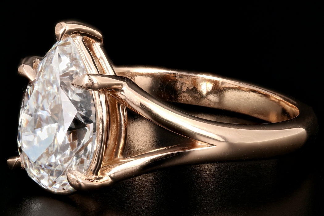 Modern 18K Rose Gold 2.03CT Pear Cut Diamond Ring GIA Certified - Queen May