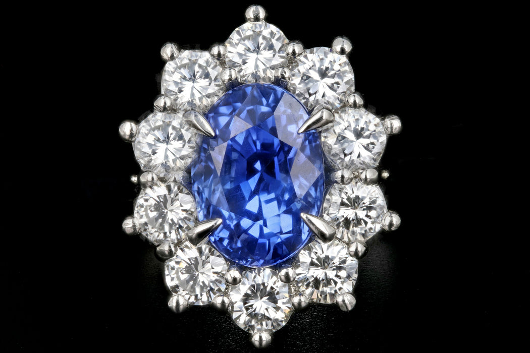 New Platinum 3.53 Carat No Heat Color Changing Ceylon Sapphire Diamond Halo Ring - Queen May
