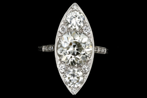 Edwardian Platinum 3.5 Carat Old Euro Center Navette Ring