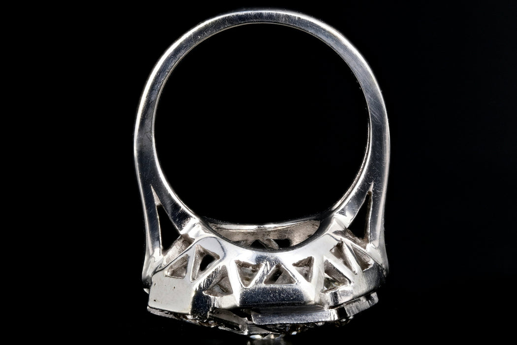 Art Deco 14K White Gold .97 Carat Diamond Cluster Ring - Queen May
