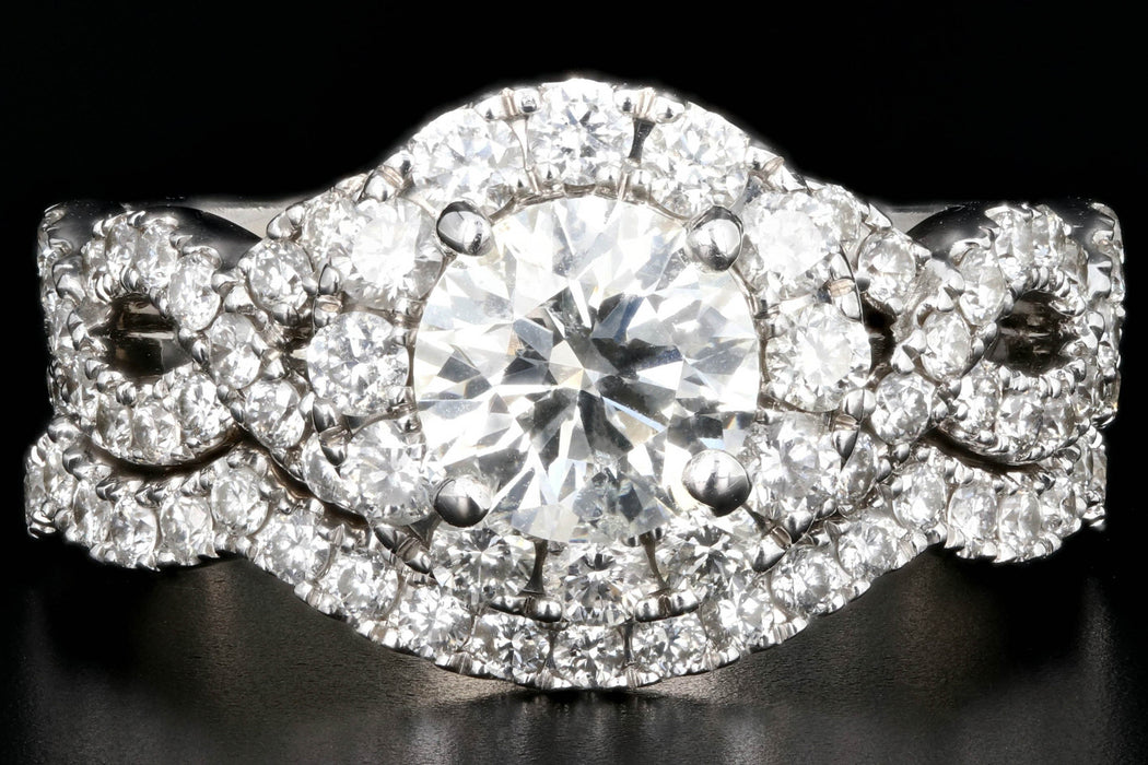 Modern 14K White Gold .98 Carat Round Brilliant Cut Diamond Halo Engagement Ring with Matching Band - Queen May
