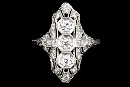 Art Deco Platinum Diamond Three Stone Shield Ring - Queen May
