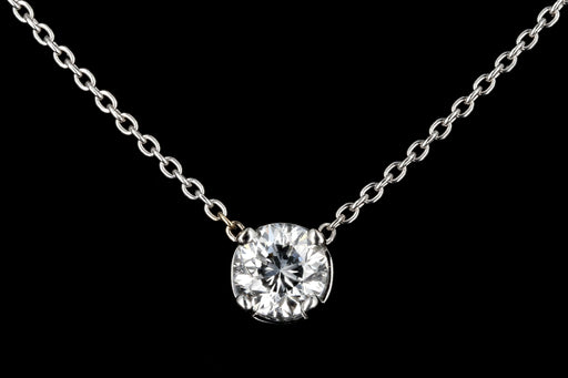 New 14K White Gold .76 Carat Diamond Necklace GIA Certified - Queen May