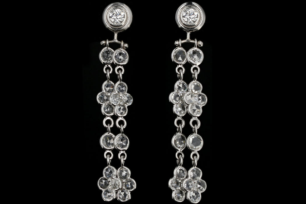 Modern 14K White Gold Rose Cut and Round Brilliant Cut Diamond Dangle Earrings - Queen May