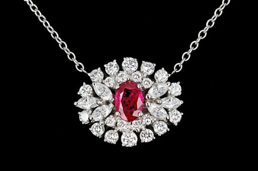 Modern 18K White Gold with 14K White Gold Chain 1.1 Carat Burma Ruby and Diamond Necklace Stone Group Laboratories Certified - Queen May