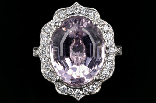 New Queen May 14K White Gold Kunzite and Diamond Statement Ring - Queen May