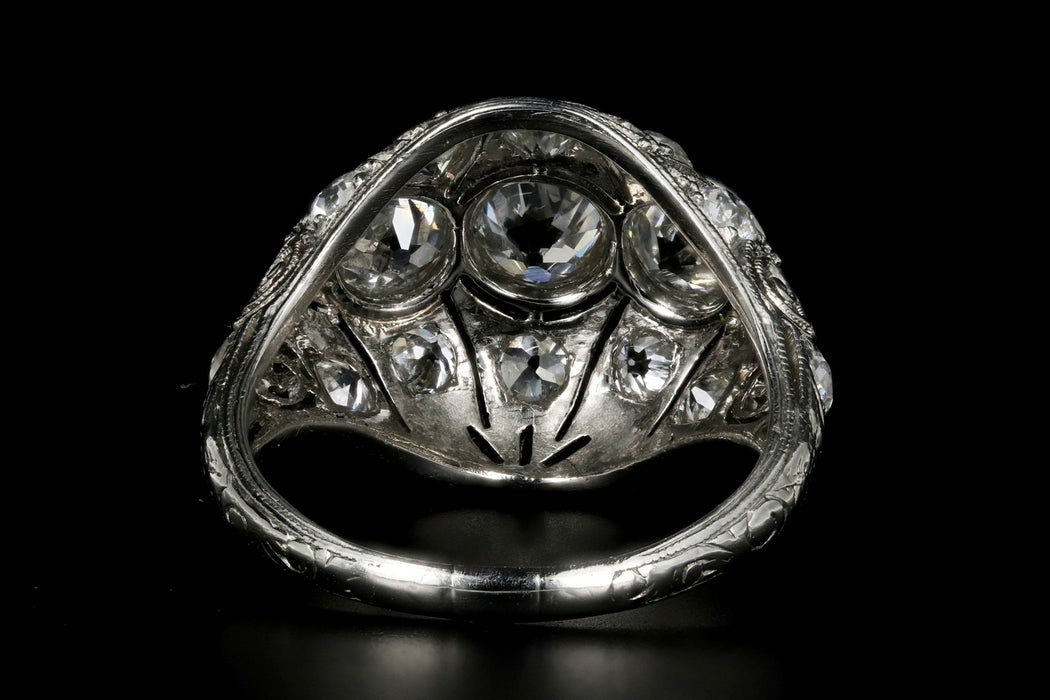Art Deco Platinum 2.53 Carat Total Weight Three Stone Diamond Ring - Queen May