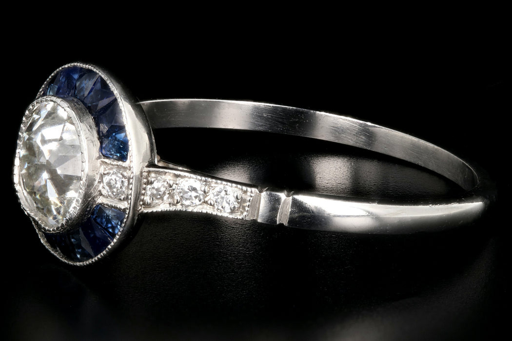 Art Deco Style Handmade Platinum .84 Carat Diamond and Sapphire Bullseye Ring GIA Certified - Queen May
