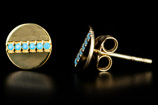 New 14K Yellow Gold Turquoise Disk Earrings - Queen May