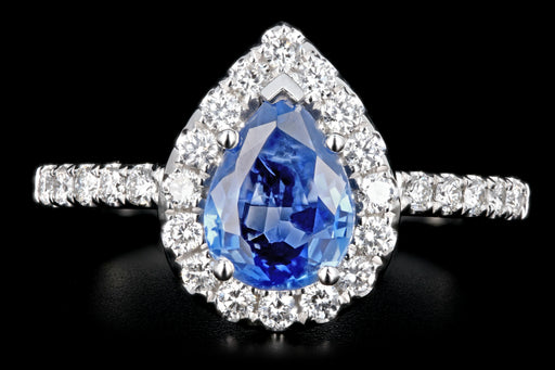 New 14K White Gold 1.42 Pear Shaped Natural Sapphire and Diamond Halo Ring - Queen May