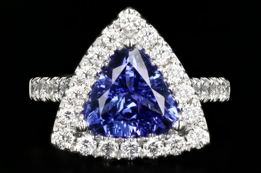 Modern 14K White Gold 2.3 Carat Trillion Cut Tanzanite Diamond Halo Ring - Queen May