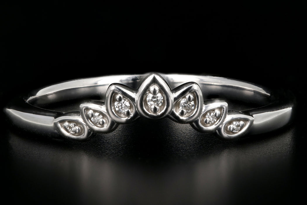 Modern 14K White Gold .025CTW Diamond Floral-Inspired Contour Band - Queen May
