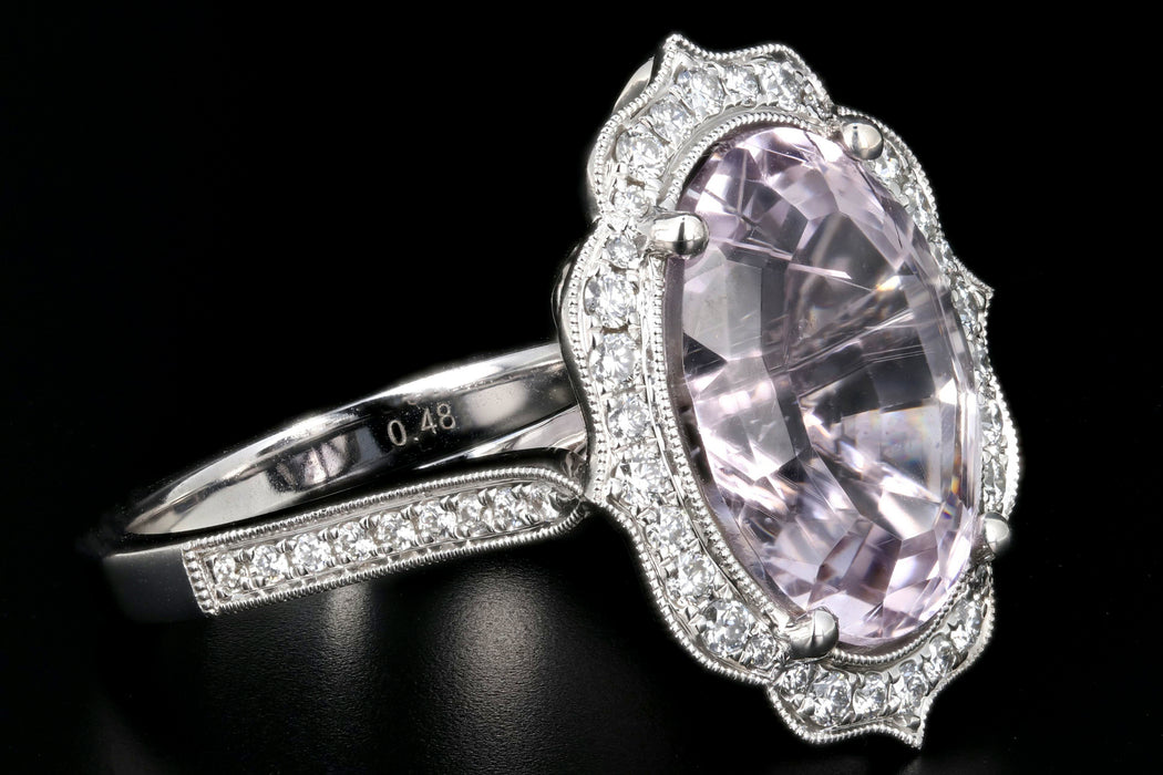 New 14K White Gold Kunzite and Diamond Statement Ring - Queen May