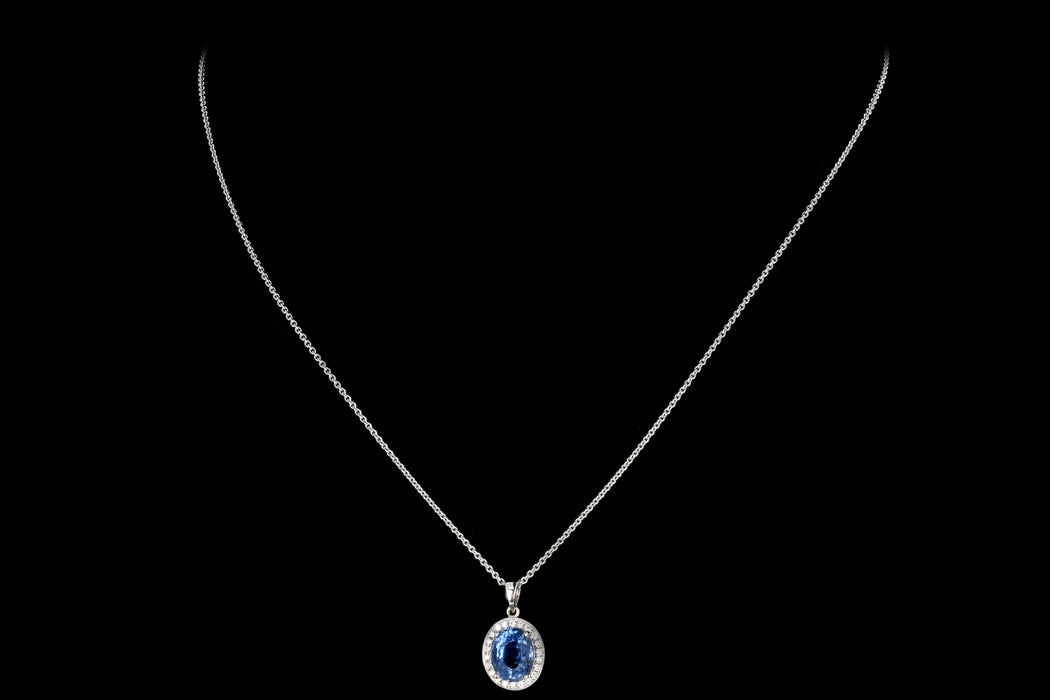 Modern 18K White Gold 2.65 Carat Natural Sapphire and Diamond Halo Pendant Necklace - Queen May