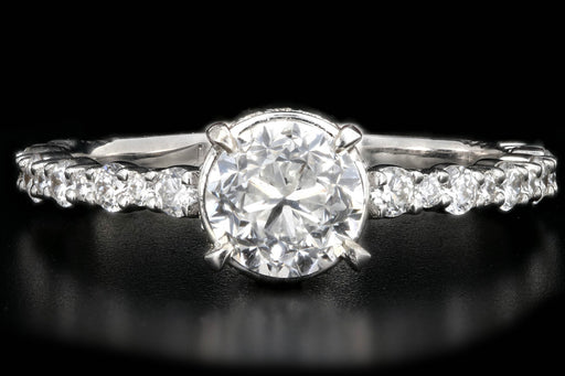 New 18K White Gold 1.01 Carat Round Brilliant Cut Diamond Engagement Ring - Queen May