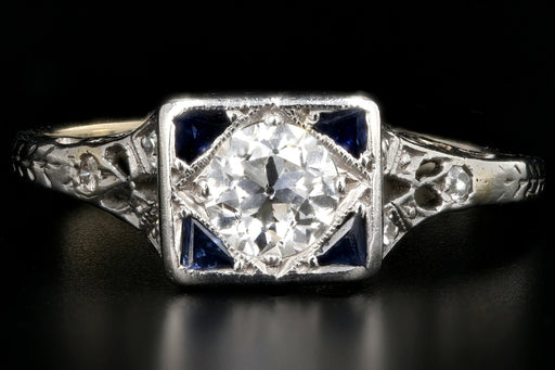 Art Deco Platinum .43 Carat Old European Cut Diamond and Sapphire Square Top Ring - Queen May
