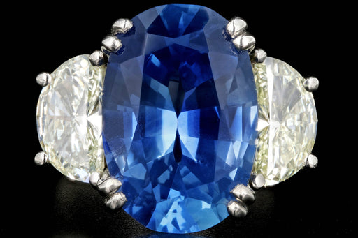 Platinum 9.72 Carat Cornflower Blue Burma No Heat Oval Cut Sapphire and 2 Carat Half Moon Diamond Ring GIA Certified - Queen May