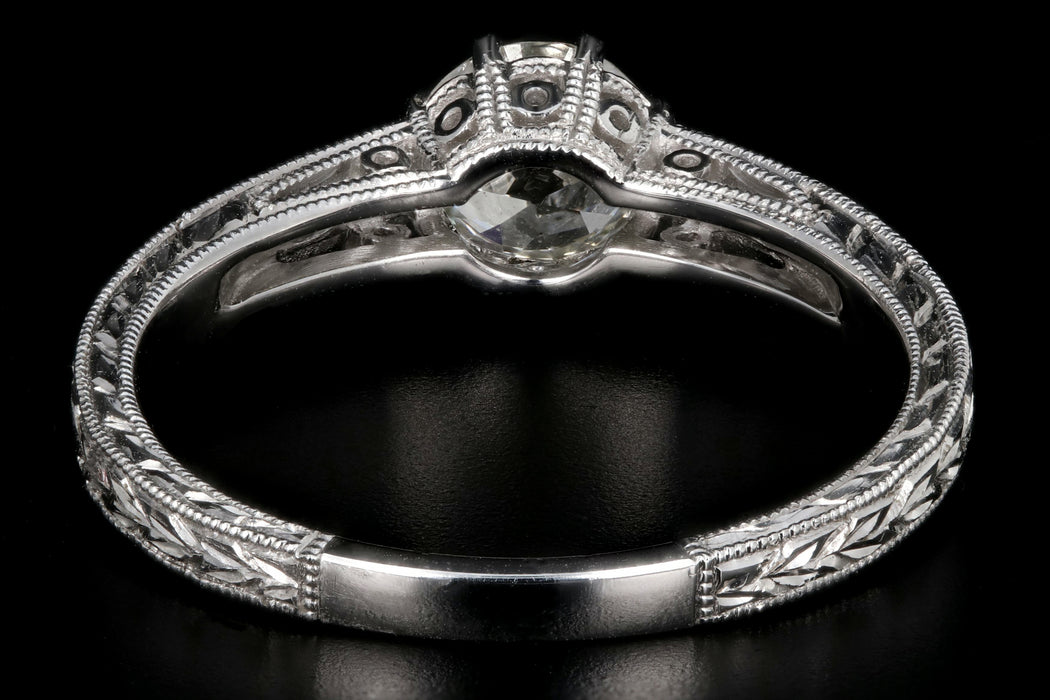 Modern 14K White Gold .69 Carat Old European Cut Diamond Engagement Ring - Queen May