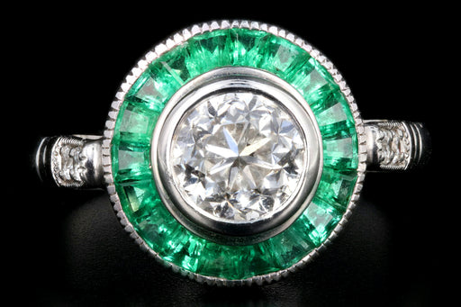 Art Deco Style 14K White Gold 1.01 Carat Round Brilliant Cut Diamond Emerald Halo Engagement Ring - Queen May