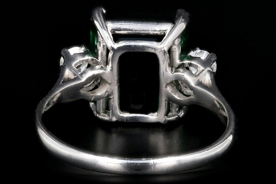 Modern Platinum  6.35 Carat Green Tourmaline and Diamond Ring - Queen May