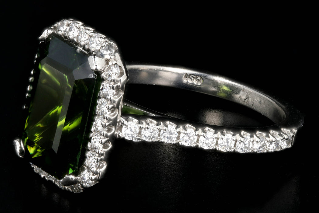New Platinum 5.65 Carat Green Tourmaline and Diamond Halo Ring - Queen May