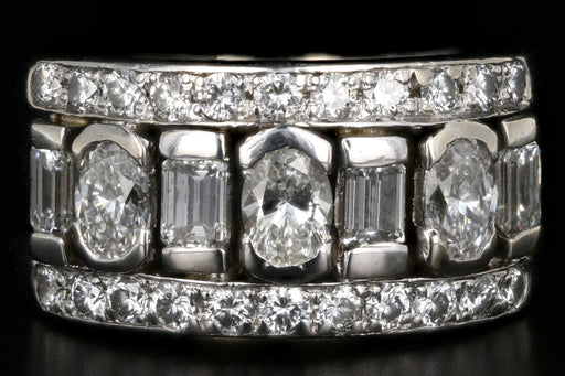 18K White Gold 2.32 Carat Round, Oval, and Emerald Cut Diamond Band