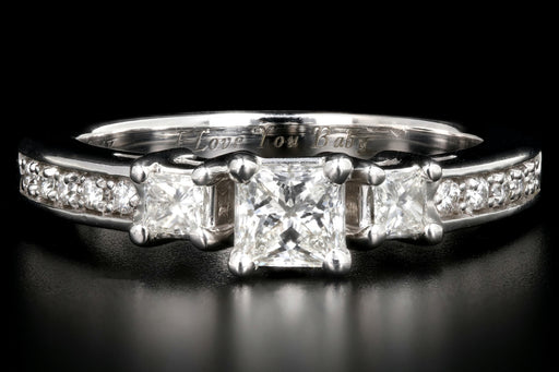 14K White Gold Princess Cut Diamond Engagement Ring GIA Paperwork
