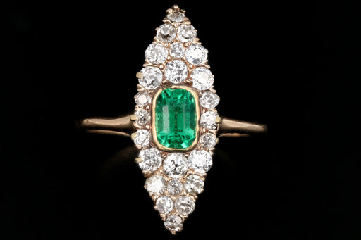 Victorian 14K Yellow Gold .75 Carat Emerald and Old European Cut Diamond Navette Ring - Queen May